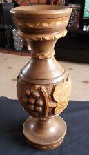 Handmade Wooden HandCarved Vintage Vase Vine Leaves & Grapes Design 36cm Tall