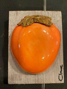Original Carol Cline Ceramic Hand Sculpted Persimmon Fruit NEW