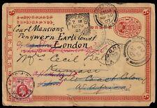 CHINA 1907 1c postal card via HONG KONG to GOLD COAST, redirected to England. 上海
