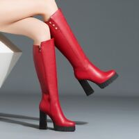 c9010582a14 Quality Women s Knee High Boots Real Leather Round Toe Chunky Heels Shoes  Woman