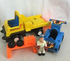1978 Vintage Race Car Rig Truck w/ Husky Helper Fisher Price Toys 320 Fast Ship