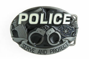 POLICE Serve and Protect Novelty Black Enamel Metal Belt Buckle