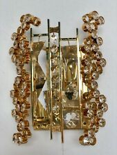A Pair Of Palwa Wall Sconces Gilt Brass Crystal Glass Hollywood Regency