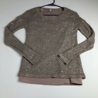 Gianni Bini Women's Long Sleeve Pullover Sweater Top XS Sequin Shimmery Casual