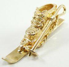 """14K Yellow Gold Skiing Boot Pole Charm Pendant 1 1/4"""" 3 D"""