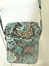 VERA BRADLEY Cross Body Purse Java Blue Brown Floral Paisley Quilted Bag