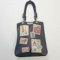 [ BARBARA RIHL Paris ] Womens Black Leather Paris Postcards Bag / Handbag RARE!