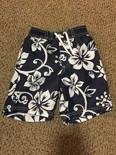 VGUC Old Navy Toddler Boys Blue White Hibiscus Hawaiian Swim Shorts Trunks Sz 3T