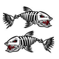 Skeleton Fish Boat Decal, Mirrored Pair, Diecut vinyl adhesive sticker 30x14cm
