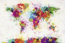 World Map Paint Drop Poster Michael Tompsett Weltkarte 140 x 100 cm