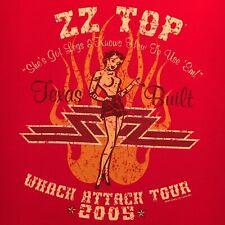 official Zz Top red t-shirt-Whack Attack Tour 2005-Pin Up Girl got legs - (Xl)