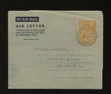 Gold Coast Ashanti Newtown Aerogramme Kg6 1952 6d to Liverpool