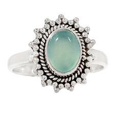 Aqua Chalcedony 925 Silver Ring Jewelry s.6.5 AQCR482