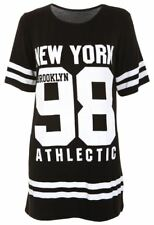 Ladies USA American Varsity Baseball Newyork98 Oversize Baggy T Shirt Top Dress UK 14-16 Black