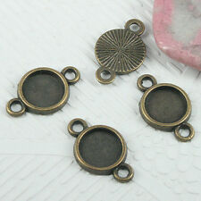 32pcs antiqued bronze color round 8mm cabochon settings connector EF0669