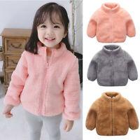 Toddler Kids Baby Girls Boys Cute Fluffy Coat Solid Winter Warm Outerwear Jacket