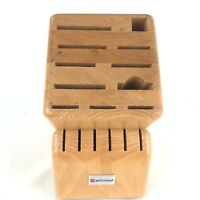 Wusthof Knife Block 17 Slot Wood Storage Steel Sharpener Natural Cutlery Holder