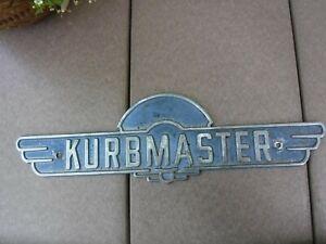 Vintage Kurbmaster Logo Emblem Badge Sign Plaque Metal Nameplate Nice Rad-Sales