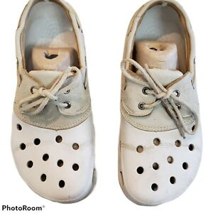 Crocs Cream Islander Boat Shoes Some Cracking  Unisex Women's sz 11 Men's sz 9