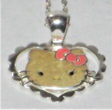 "JMC Sanrio Hello Kitty Sterling Silver Enamel Pendant & 18"" Necklace Chain 2.34g"