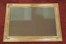 Vintage Huge 36 x 26 inch Wall Mirror Gold Ornate Wooden Frame Hollywood Regency