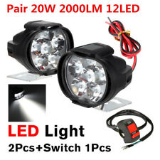 2x 10W 6LED White 1000LM Motorcycle ATV Headlight Driving Fog Spot Light +Switch