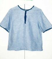 & Other Stories Light Blue Chambray Boxy Top Short Sleeves Black Trim UK 8