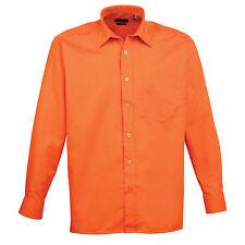 "Premier Long Sleeve Poplin Work Business Shirt - Pr200 Orange 15.5"""