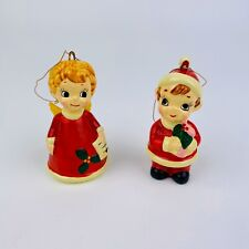 Set of 2 Vintage Josef Originals Christmas Ornaments Pixie Elf Angel Caroler