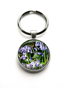 Silver Plated Bluebell Flower Photo Keyring