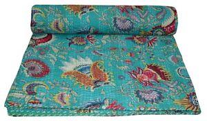 Indian Handmade Kantha Quilt Throw Bedspread Bedding Mukat Prints Blanket Queen