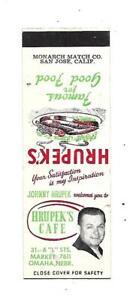 Hrupeks Cafe  Matchcover   Omaha, NEBR.     Johnny Hrupek