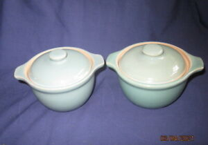DENBY MANOR GREEN 2 X COVERED HANDLED SOUP DISHES VERY GOOD CONDITION