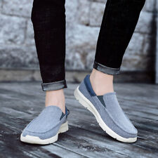 Mens Canvas Loafers Casual Flats Slip on Shoes Round Toe Cloth Shoes Comfort