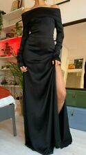 Theory Black Evening Dress Off-the-shoulder Crepe maxi dress