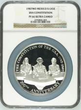 1987Mo Mexico Silver 12oz USA Constitution Medal NGC PF66UC