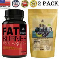 Women Fat Burner Capsules Night Slim Fat Burner Weight Loss Tea Bags Combo Pack