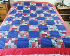 "Unfinished Blues,Pink,Red Floral Print Patchwork Quilt Top 65""x 80"","