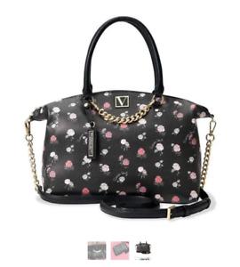 VICTORIAS SECRET Convertible Xbody Satchel Handbag, VS Rose Ptrn Black Multi $78