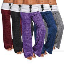 Womens Yoga Pants Foldover Stretch Comfy Soft Flare Wide Leg Leggings Trousers