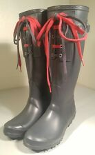 Barneys New York Rubber Lace Up Rain Boots Galoshes ITALY NEAR MINT Sz: 38 (7.5)