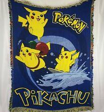 Pokemon Pikachu Woven Blanket Throw Blanket Flying Surfing