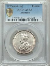AUSTRALIA 1925-(m,sy) FLORIN SILVER COIN ALMOST UNCIRCULATED CERTIFIED PCGS AU53