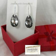 Silver Night Sterling Silver Swarovski Elements Dangle Earrings Ear wire