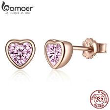 BAMOER S925 Sterling Silver Stud Rose Earrings Dazzling Heart For Women Jewellry