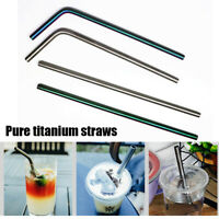 Titanium Straws With 1 Cleaner Brush Bend Straw Outdoor Camping Drinking Straws