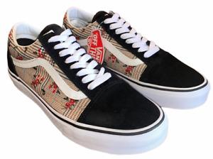Vans Old Skool (Glen Plaid Floral) Black Embroidery Shoes Women's Sz 8 New ⭐️