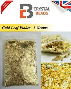 Gold Leaf Flakes 3 Grams, All Crafts  Nail Art Decorations also Silver & Copper
