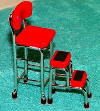 Dollhouse Miniatures, Kitchen Stool with Steps in Red