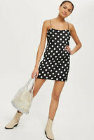 Topshop NEW Square Neck Black & White Spot Print Mini Slip Dress Sizes 6 to 18